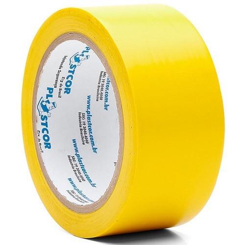 Fita P/ Demarcação De Solo Amarela 48 Mm X 30 M Plastcor