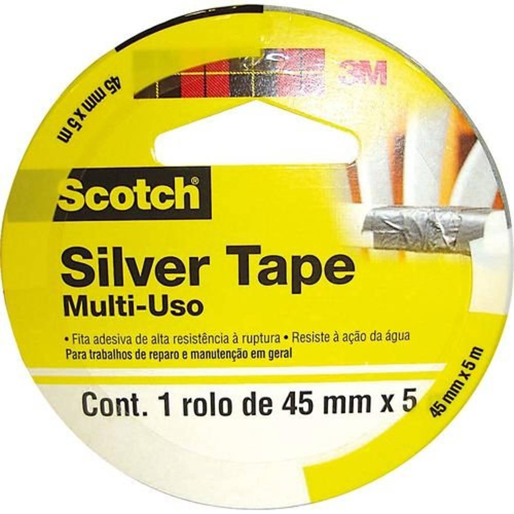 Fita Adesiva Silver Tape 45mm X 5m Cinza - 3m