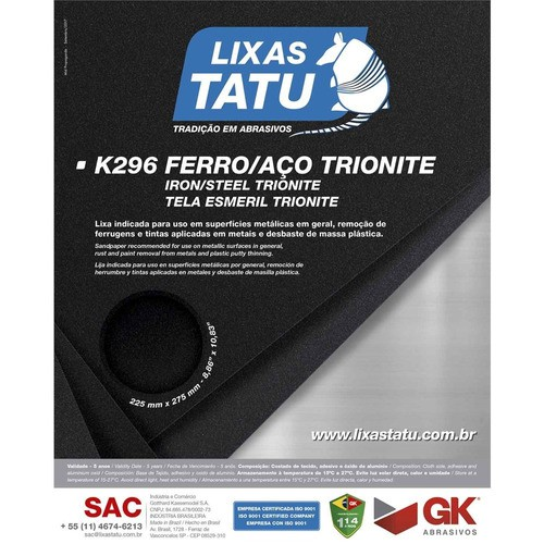 Kit 25 Lixa Para Ferro Tatu K296 Grão 80