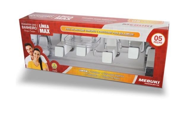 Kit Banheiro Mebuki Max C/5pçs - Branco/Cromado