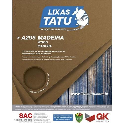 Kit C/ 50 Lixa Madeira A295 Grão120 Tatu