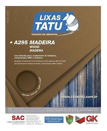 Kit C/ 50 Lixa Madeira A295 Grão 100 Tatu