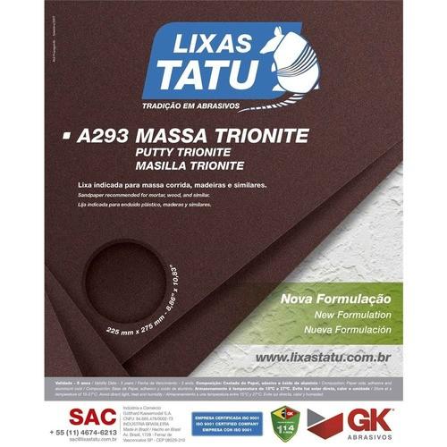 Kit C/ 50 Lixa Massa A293 Grão 60 Tatu