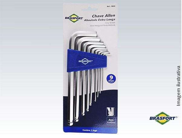 Kit Chave Allen Brasfort Abaulada Extra Longa 1,5 a 10mm 9p