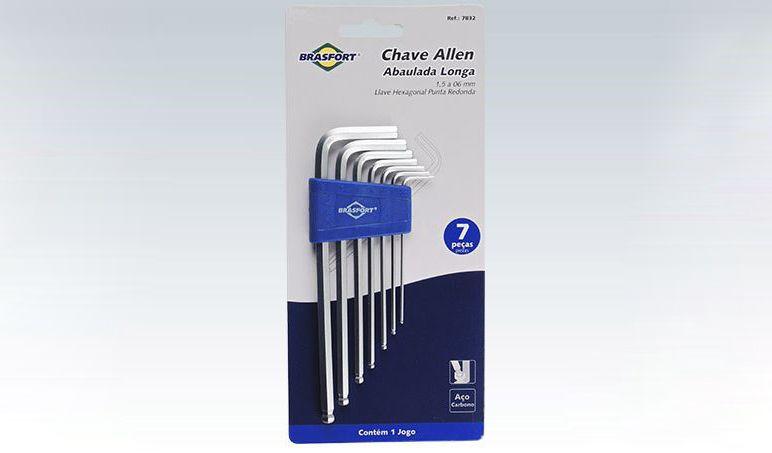 Kit Chave Allen Brasfort Abaulada Longa 1,5 a 6mm 7pc