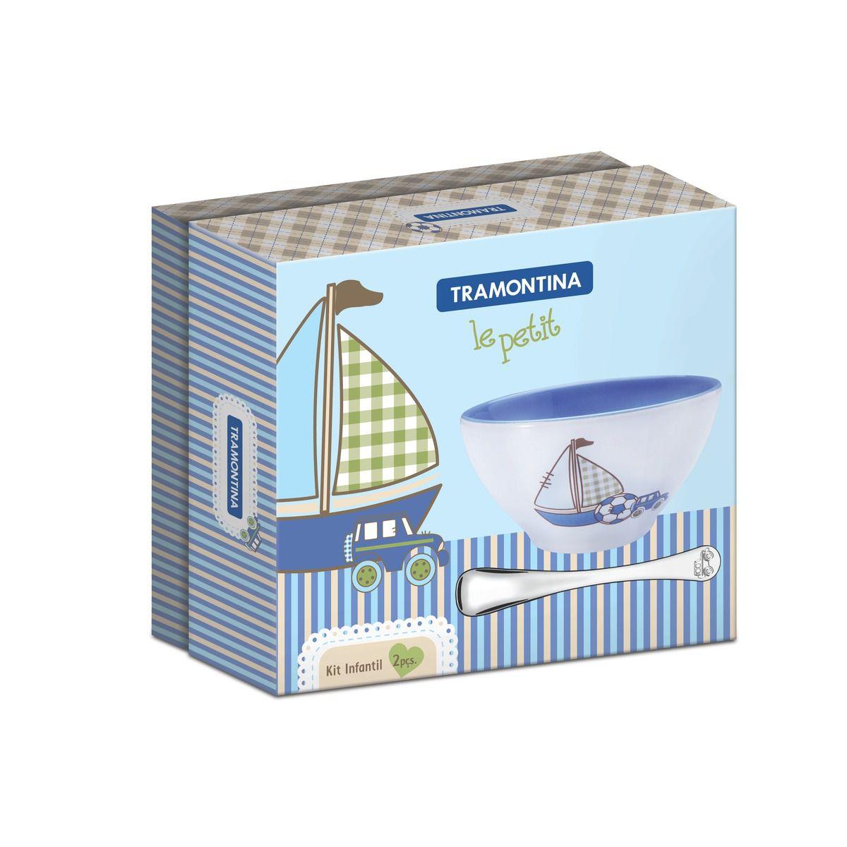Kit Infantil Tramontina Azul Com Cumbuca Em Cerâmica E Colher Em Aço Inox
