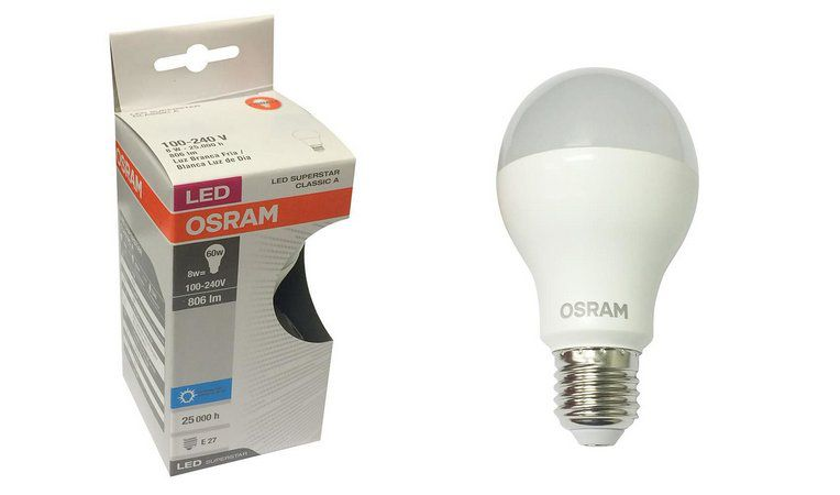 Lâmpada LED Bulbo A60 8W Bivolt 6500K Luz Branca E27 OSRAM