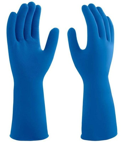 Luva Latex Antiderrapante Azul (10 Pares) Mucambo