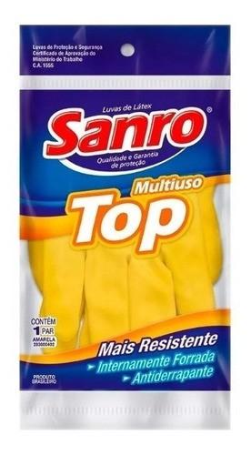Luva Latex Sanro Top Amarela