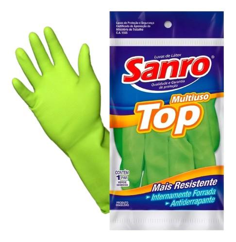 Luva Látex Sanro Top Multiuso Verde