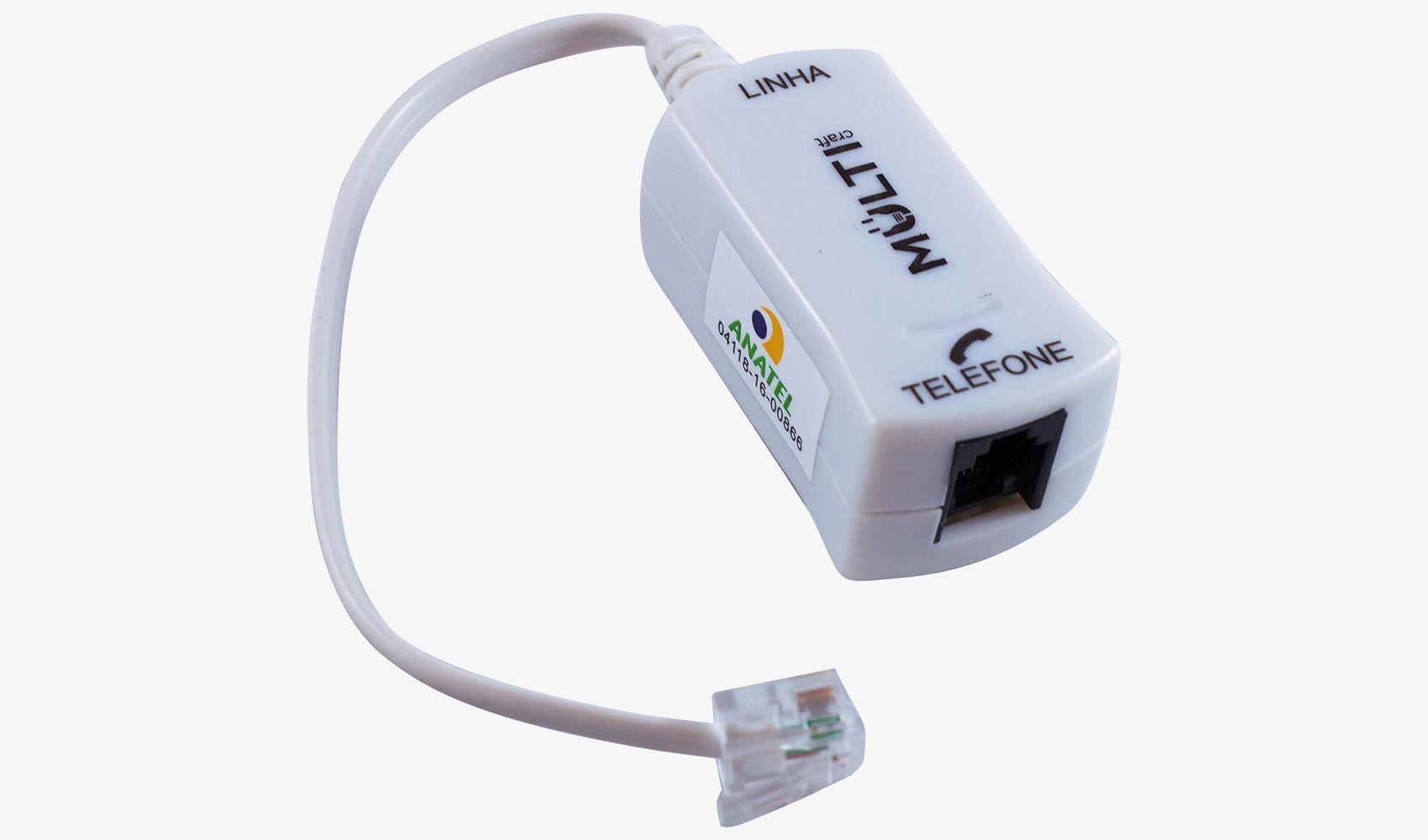 Micro Filtro Adsl Simples Multicraft Branco Internet Modem