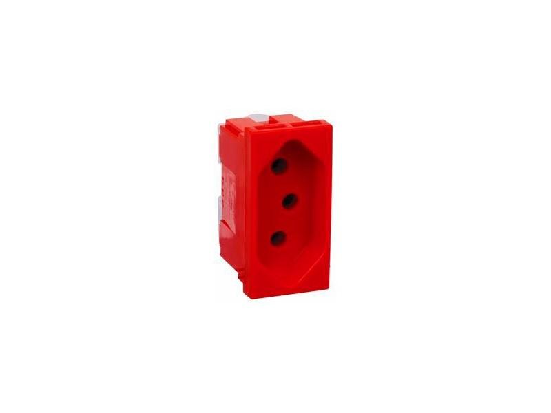 Módulo Tomada Predial Vermelha 2 Polos + Terra 20A 250V 615079 Pial Legrand