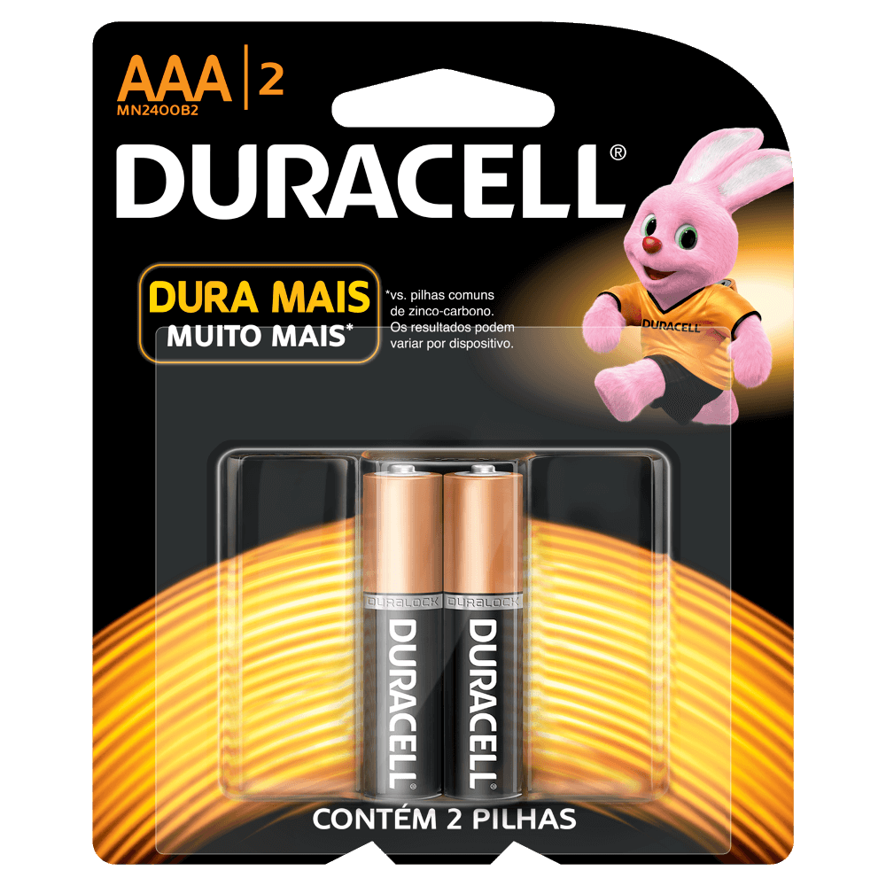 Pilha  Alcalina Palito AAA c/2 Duracell