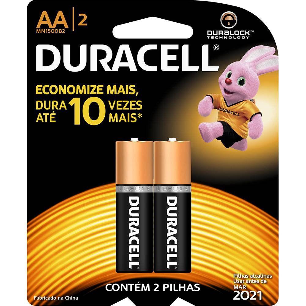 Pilha Alcalina Pequena AA2 c/2 Duracell