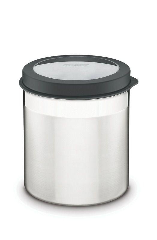 Pote Tramontina Em Aço Inox Com Tampa Plástica Preta E Visor 18 Cm 5,2 L