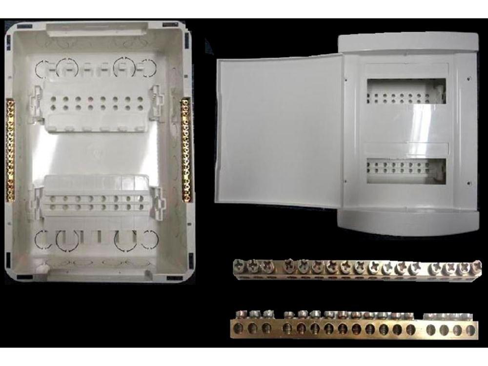 Quadro Distribuição TIGRE PVC Embutir C/Barramento12e16 disjuntores