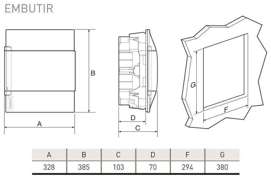 Quadro Embutir Pvc P/ 24 Disjuntor Din Legrand 135002