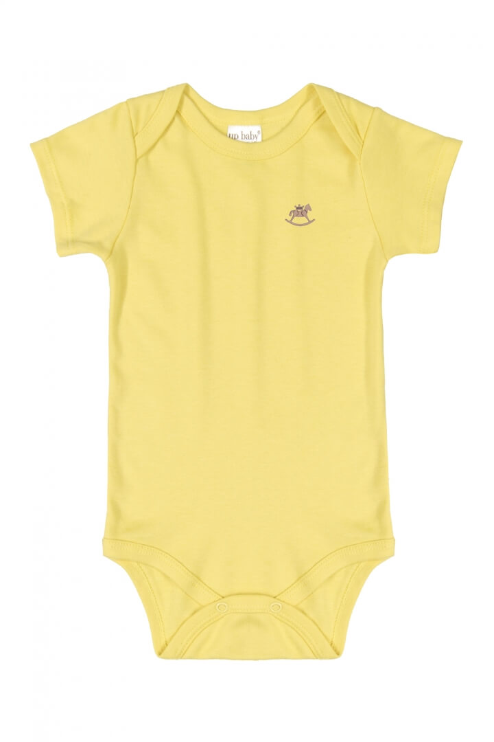 Body Manga Curta em Suedine Amarelo - Up Baby