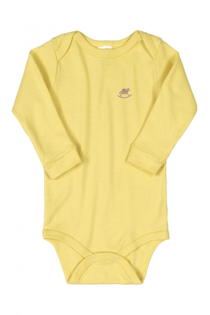 Body Manga Longa em Suedine Amarelo - Up Baby