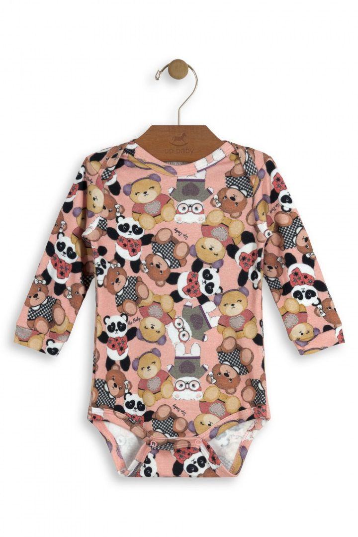 Body Manga Longa em Suedine Estampa Urso - Up Baby