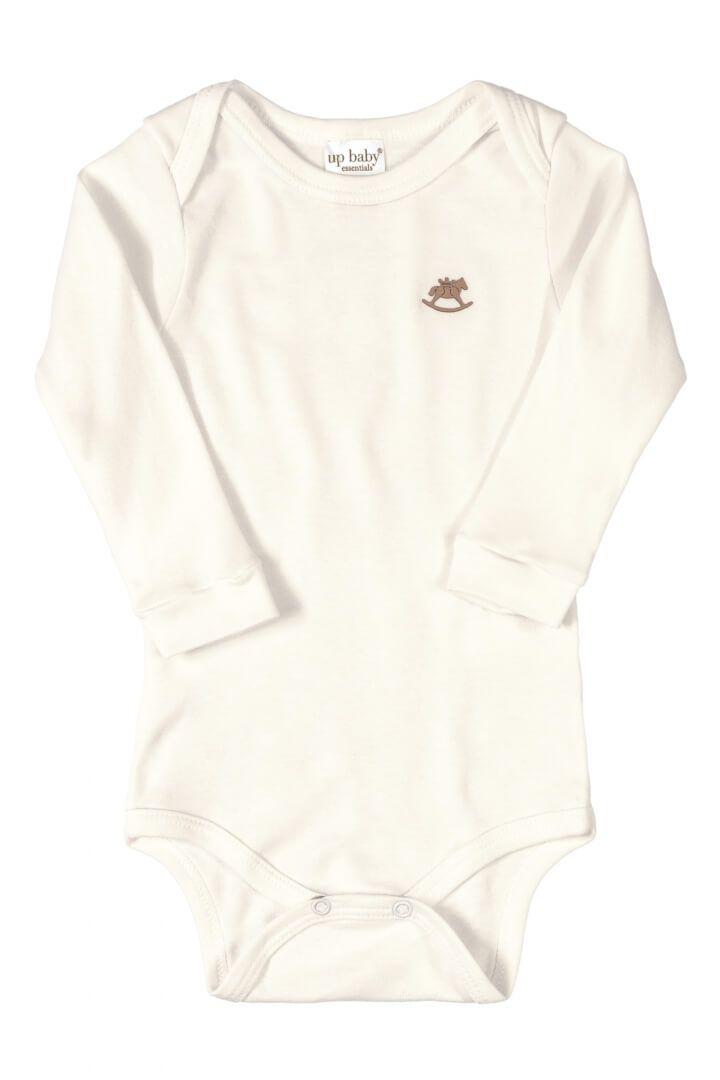 Body Manga Longa em Suedine Off White - Up Baby