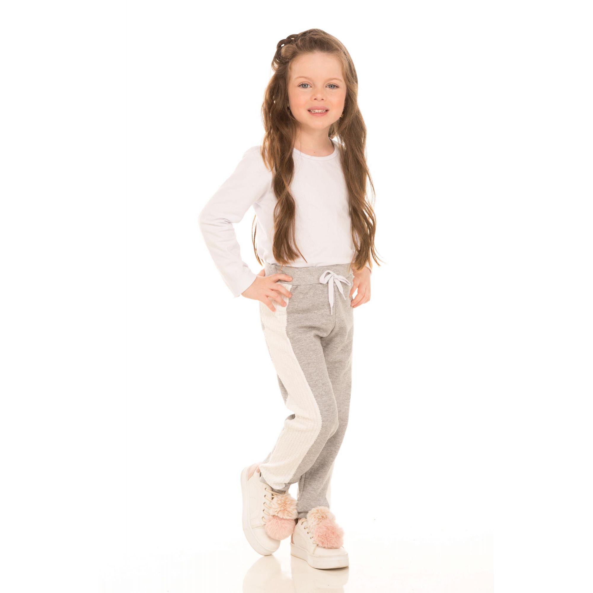 Calça Feminina Jogger Moletom com Recorte Paetê Branco - Ralakids