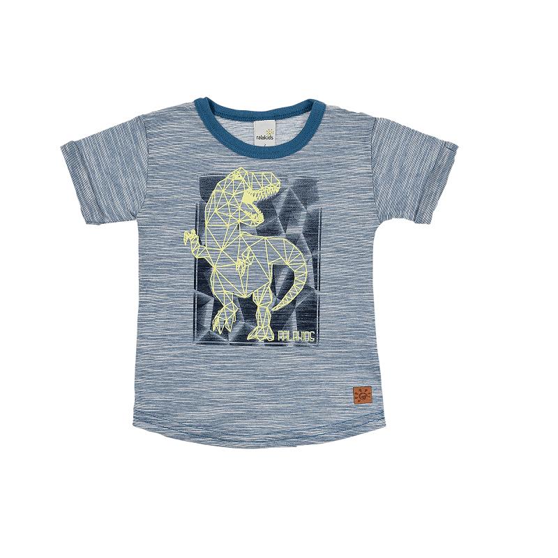 Camiseta Flamê Devorê com Manga Dobrada Estampa Dinossauro - Ralakids
