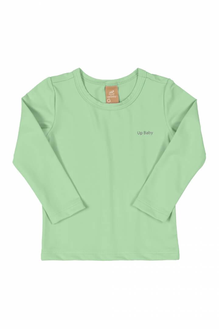 Camiseta Manga Longa em Poliéster com Proteção UV Verde Claro - Up Baby