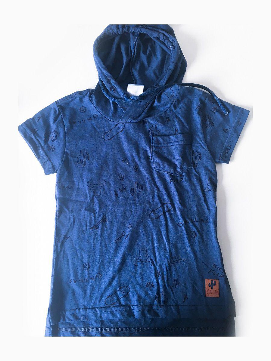 Camiseta Meia Malha com Capuz Estampa Texas