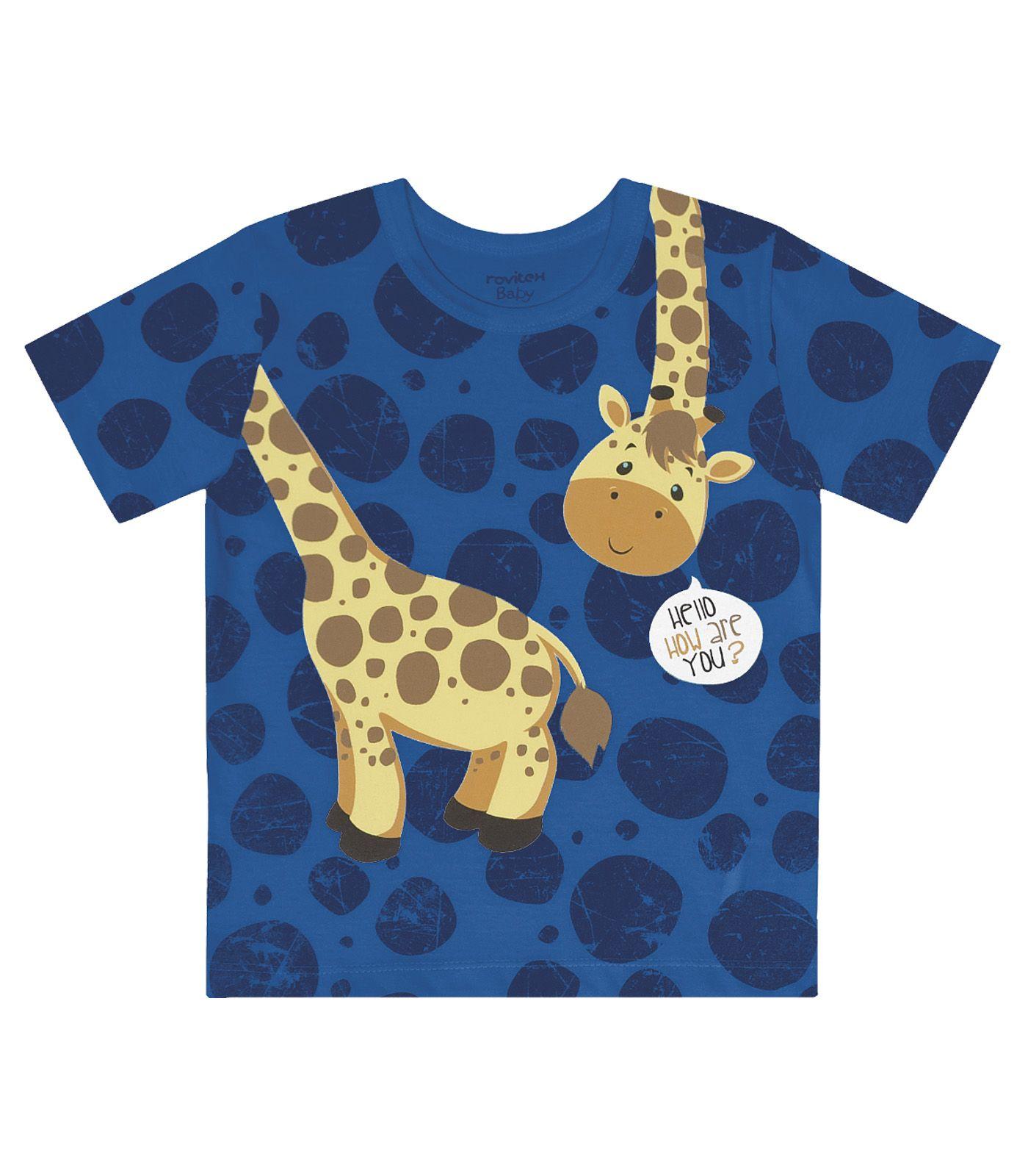 Camiseta Meia Malha Estampa Girafa - Rovitex Kids