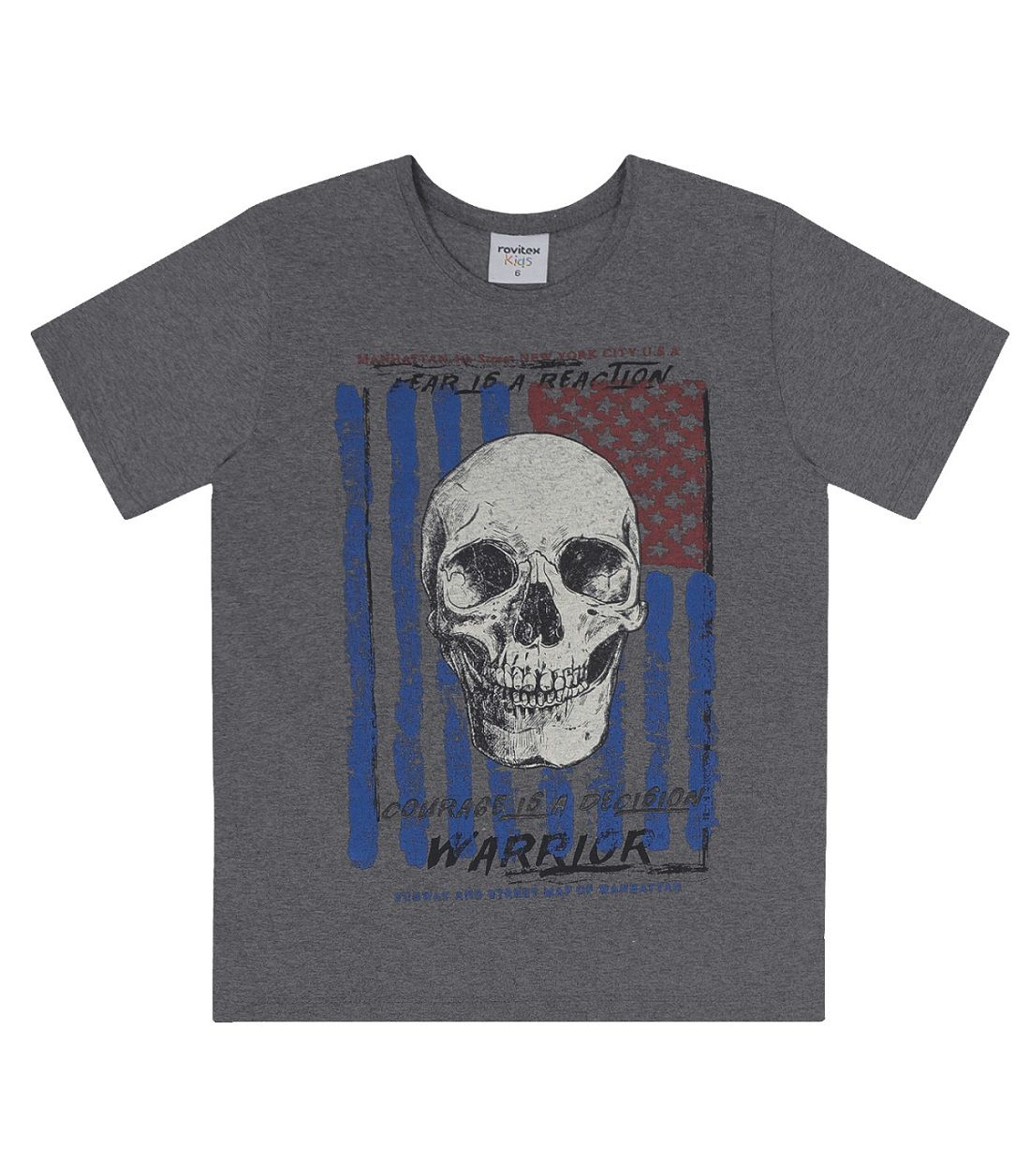 Camiseta Meia Malha Estampa Caveira