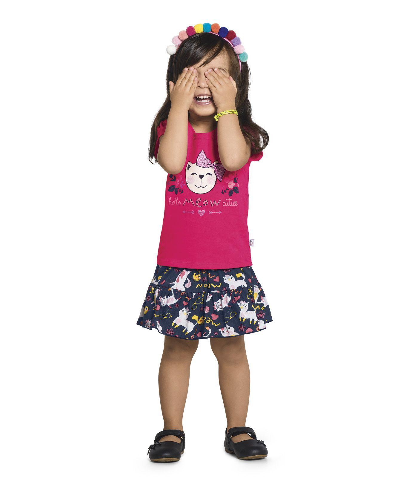 Conjunto Blusa com Short Cotton Leve / Meia Malha - Rovitex Kids