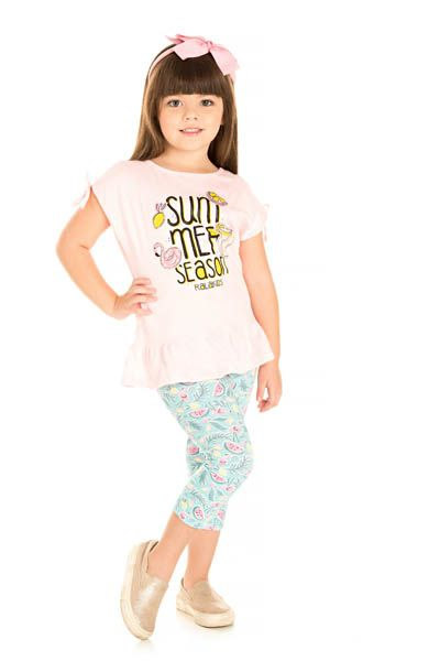 Conjunto Blusa Flamê e Legging Cotton Estampado