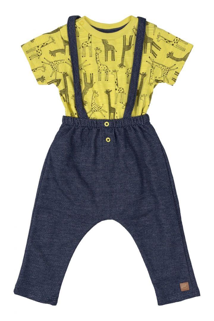 Conjunto Body Manga Curta em Suedine e Jardineira Girafa Amarelo - Up Baby