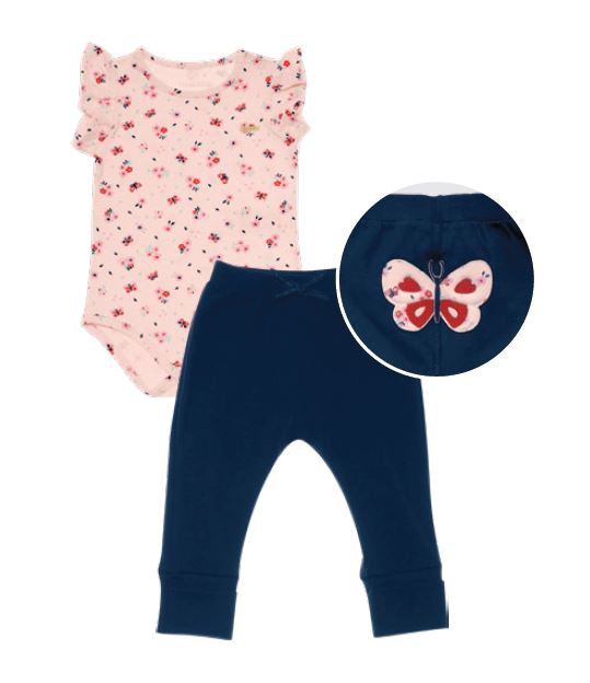 Conjunto Body Sem Manga e Calça em Cotton Borboleta - Nini & Bambini