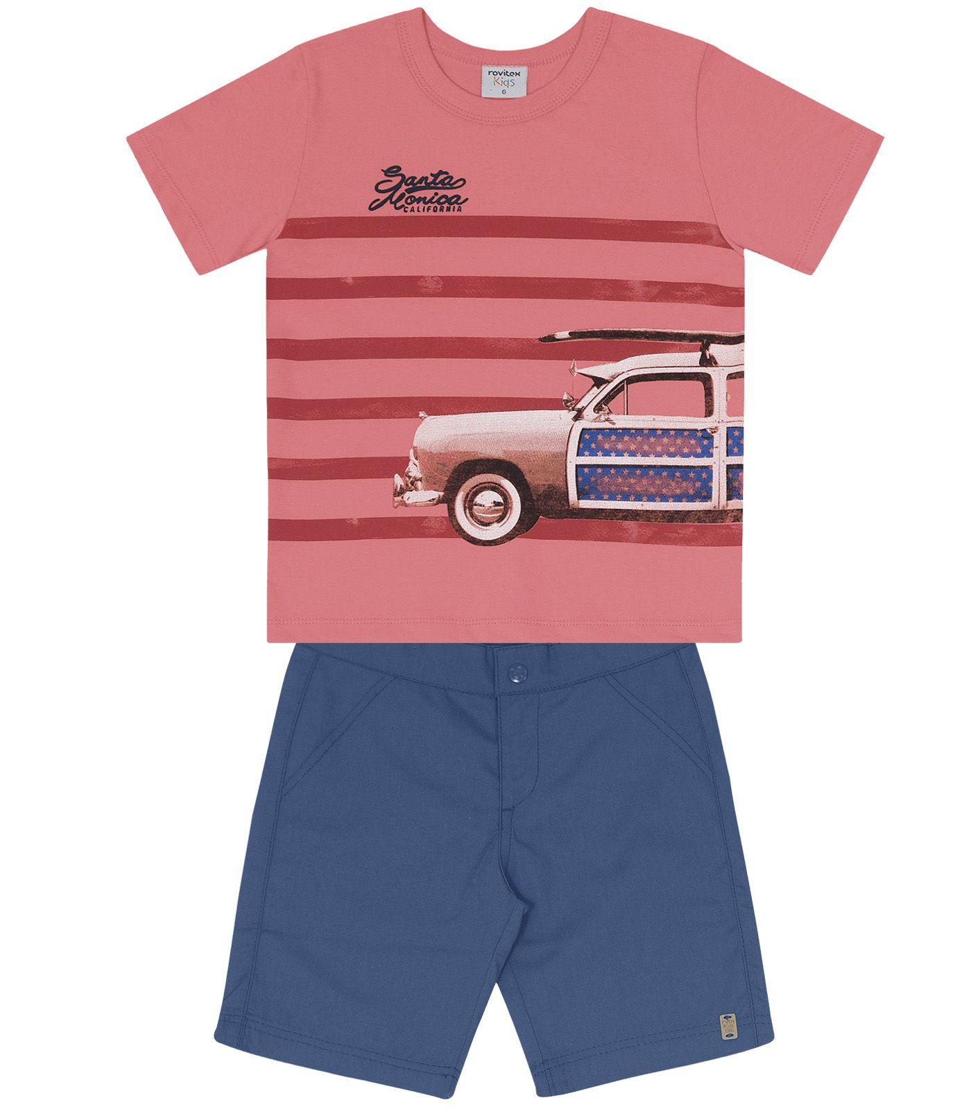 Conjunto Camiseta com Bermuda Meia Malha / Sarja - Rovitex Kids