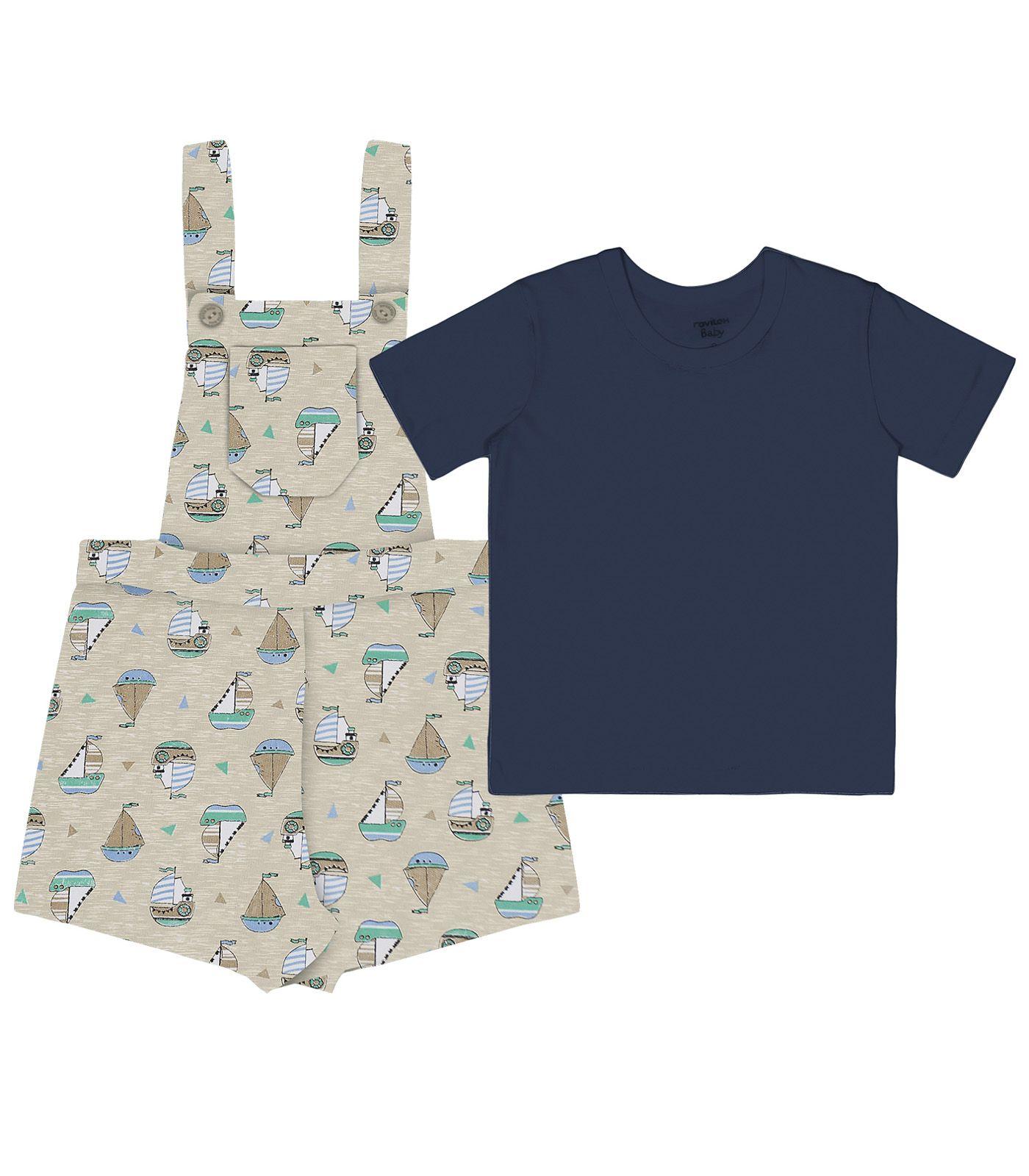 Conjunto Camiseta com Jardineira Meia Malha / Moletinho Basic