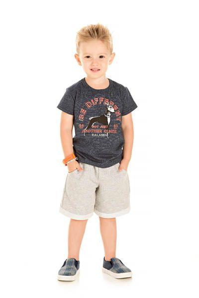Conjunto Camiseta Malha Molinê e Bermuda Moletinho com Barra Dobrada