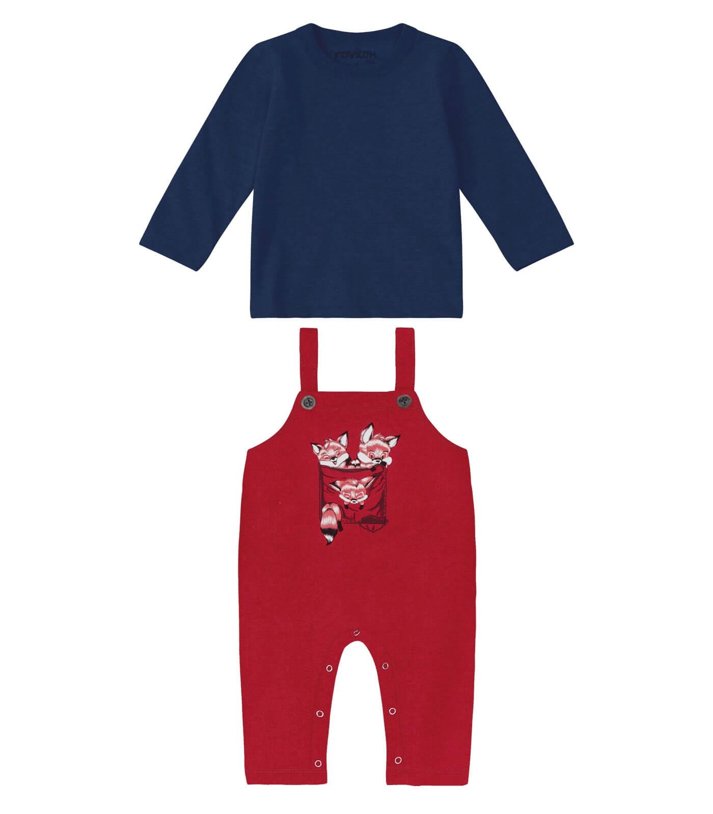 Conjunto Camiseta Manga Longa Meia Malha com Jardineira Molecotton Raposa - Rovitex Kids