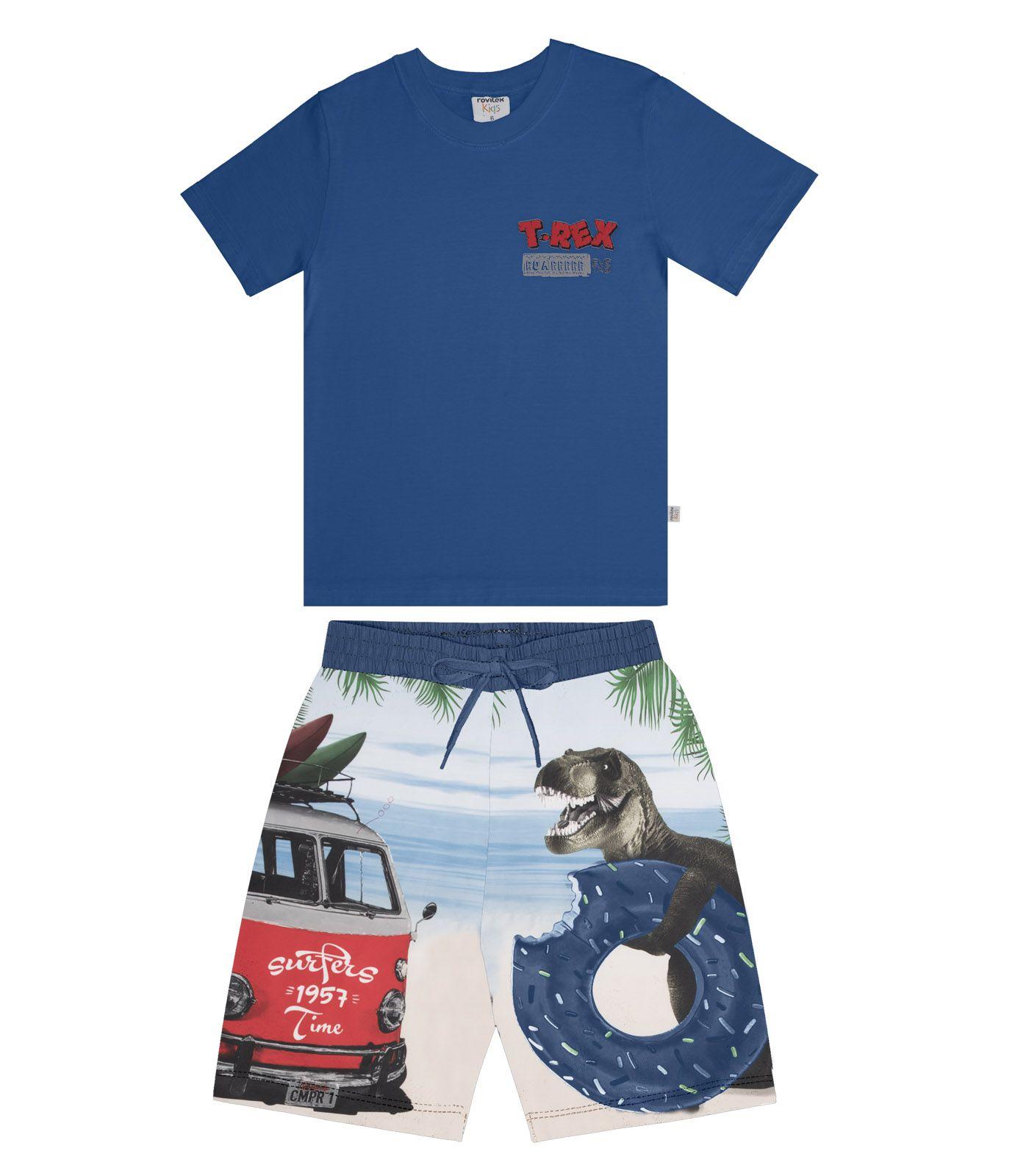Conjunto Camiseta Meia Malha com Bermuda Microfibra Estampado - Rovitex Kids