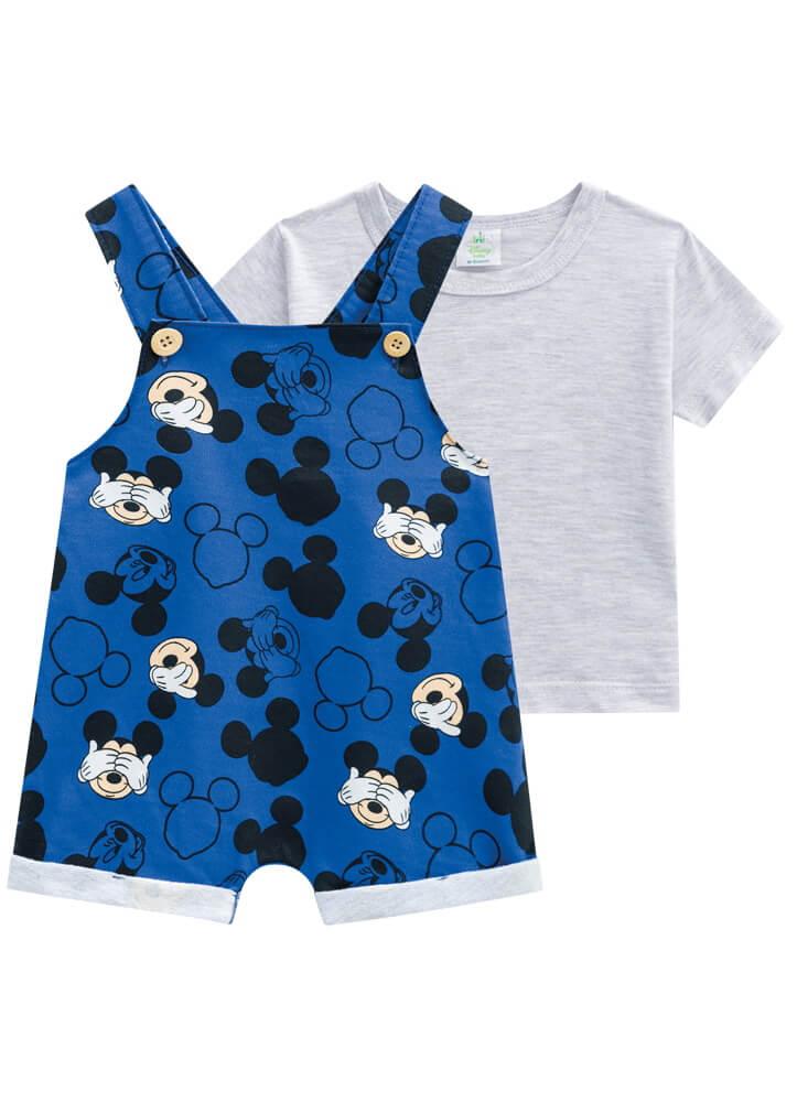 Conjunto Camiseta Meia Malha com Jardineira em Moletinho Mickey - Brandili