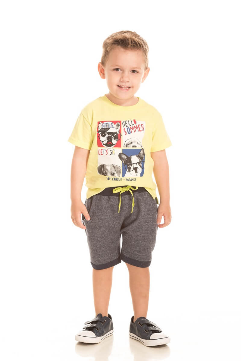 Conjunto Camiseta Meia Malha e Bermuda Saruel Moletinho Molinê Dogs Concept - Ralakids