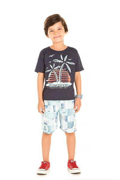 Conjunto Camiseta Meia Malha e Bermuda Tactel Sublimado