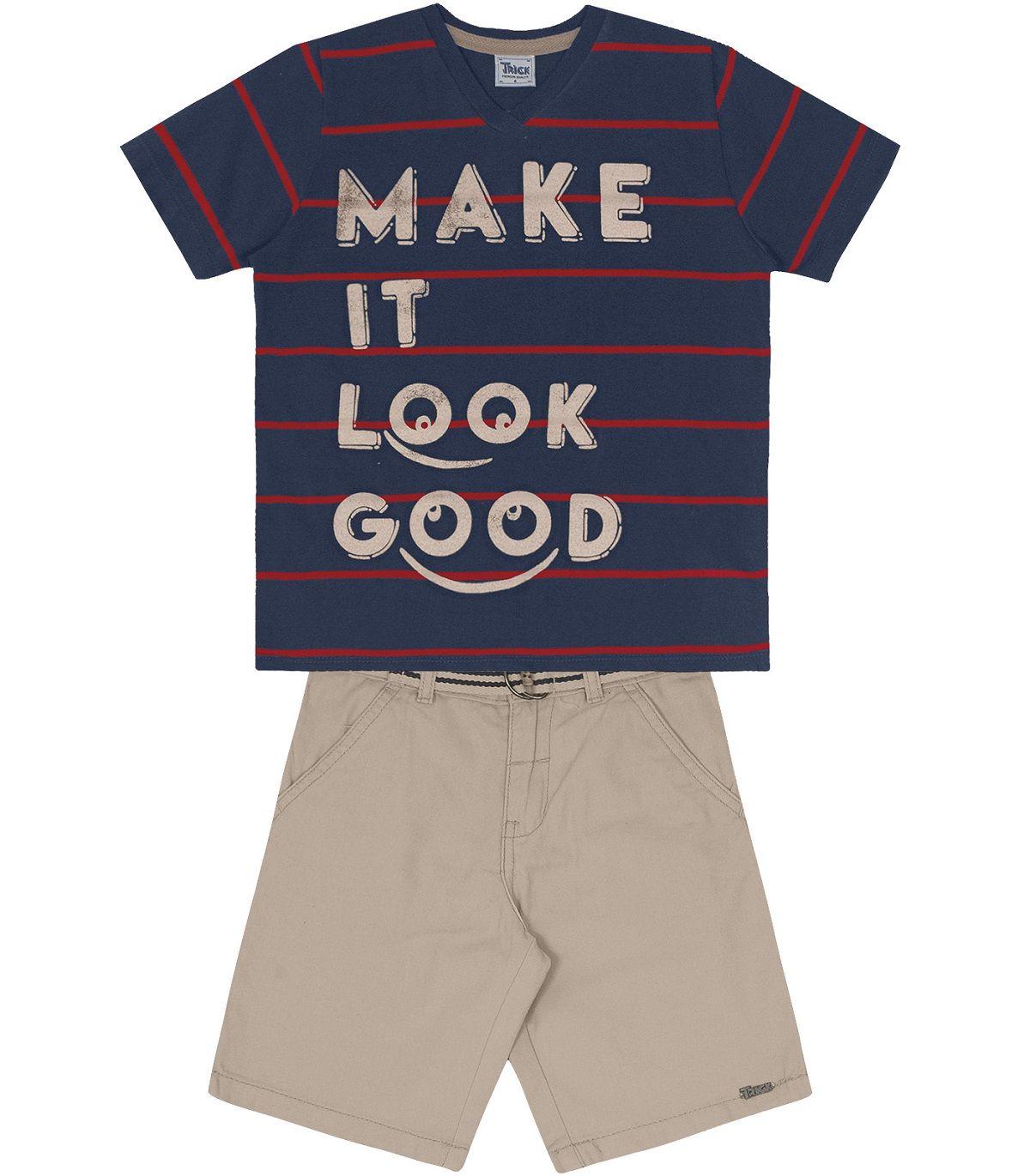 Conjunto Camiseta Meia Malha Fio Tinto com Bermuda Sarja - Trick Nick