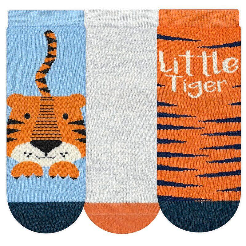 Kit 3 Meias Infantil P Menino Tigre - Cia da Meia