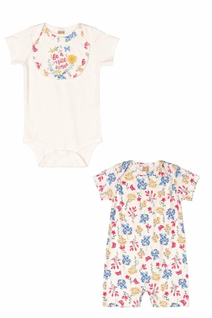 Kit Body, Babador Removível e Macaquinho em Suedine Floral - Up Baby