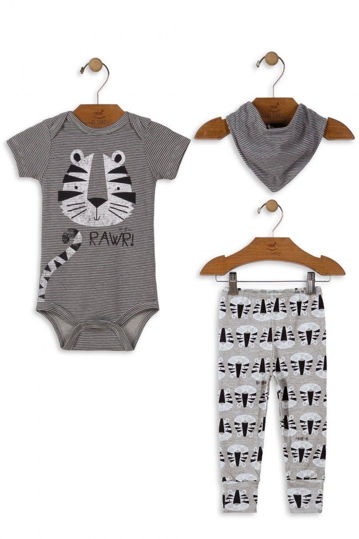 Kit Body Manga Curta, Calça e Babador em Suedine Estampa Tigre - Up Baby