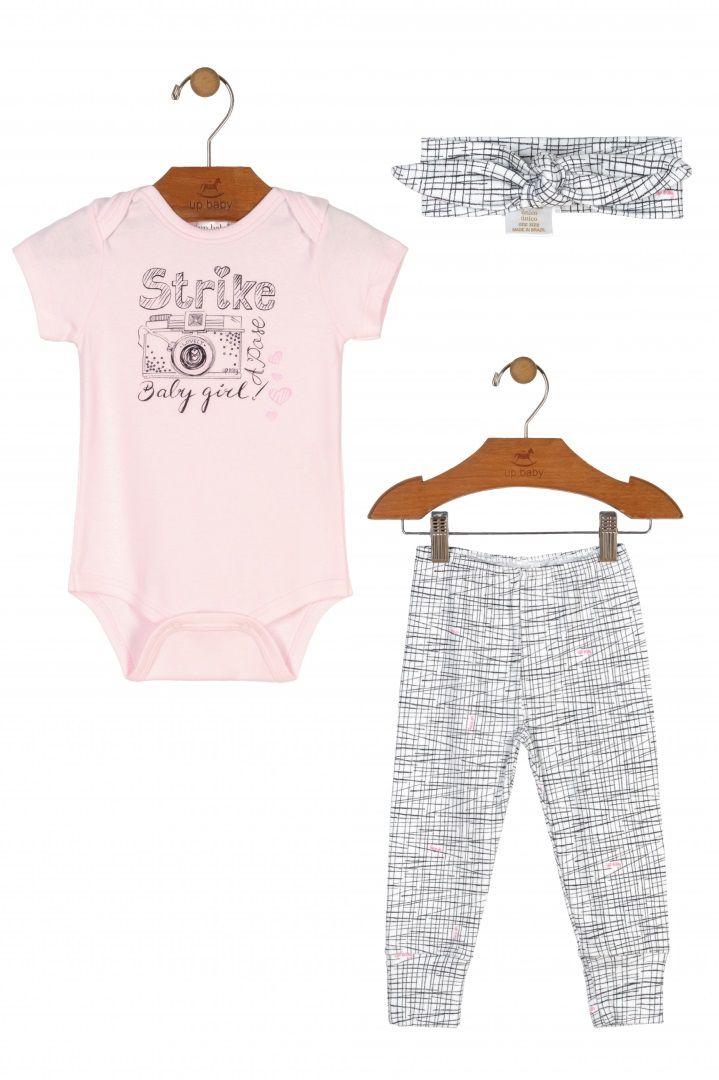 Kit Body Manga Curta, Calça e Faixa de Cabelo em Suedine Strike - Up Baby