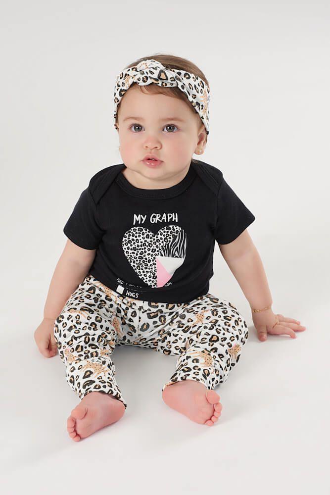 Kit Body Manga Curta, Calça e Faixa em Suedine Onça - Up Baby