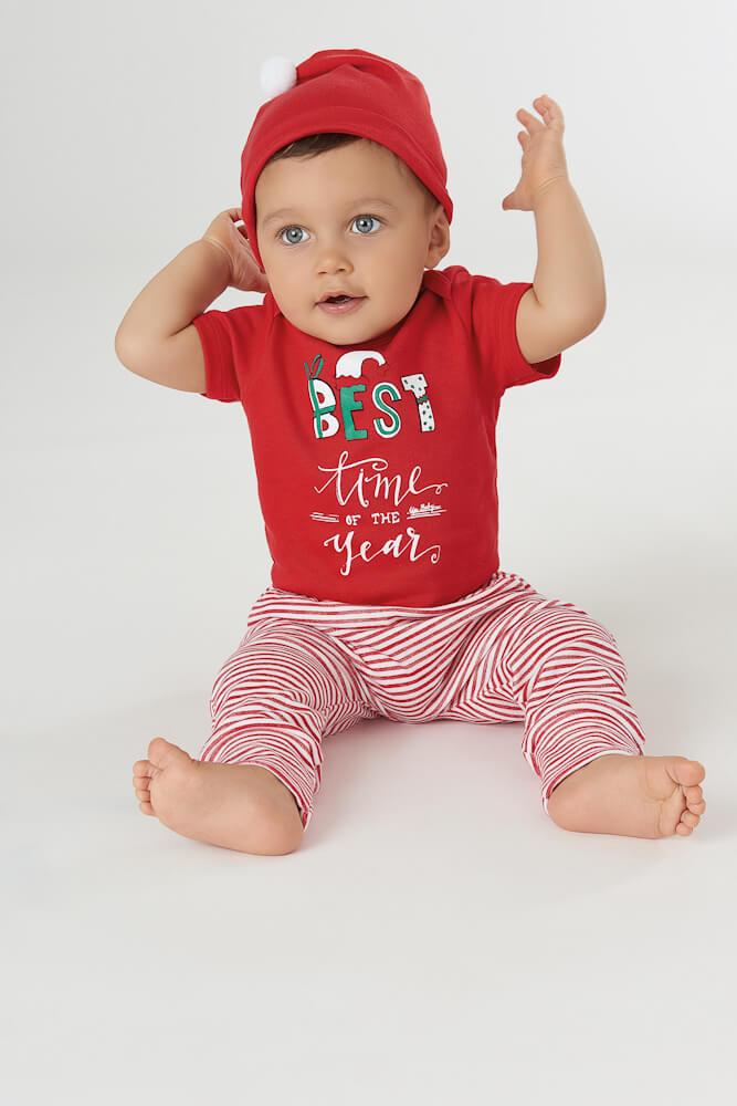 Kit Body Manga Curta, Calça e Touca em Suedine Natal - Up Baby